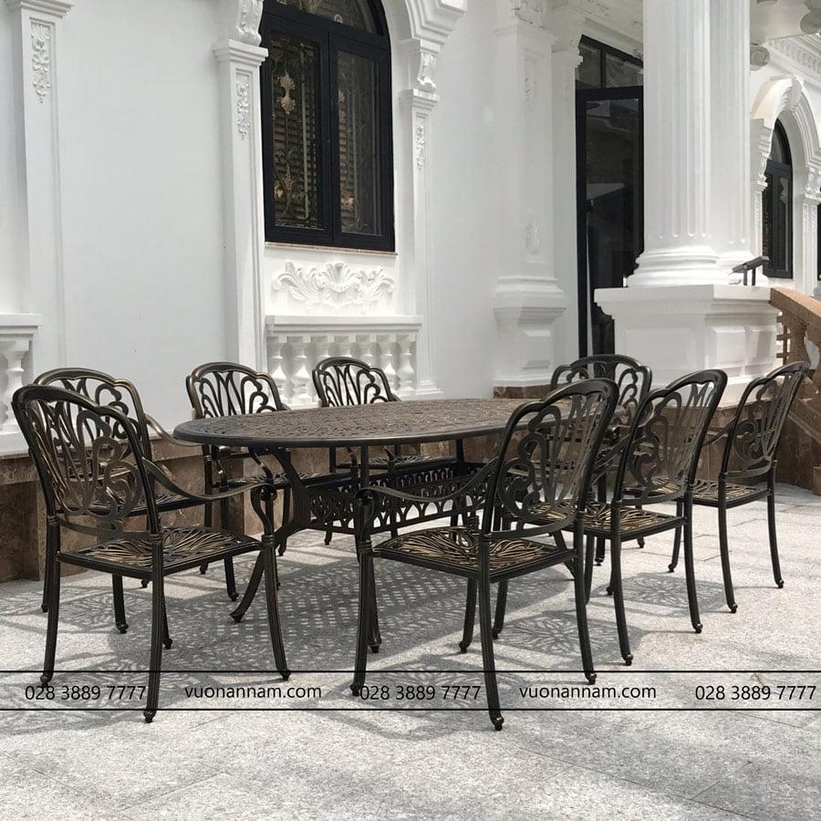 Bộ bàn ghế nhôm đúc sân vườn